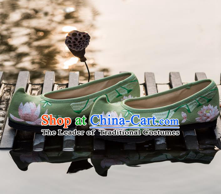Chinese Traditional Green Cloth Shoes Ancient Princess Hanfu Embroidered Shoes for Women