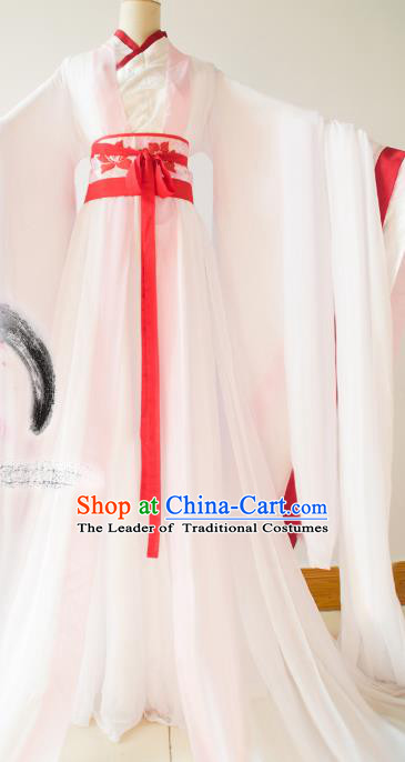 Chinese Traditional Han Dynasty Princess White Hanfu Dress Ancient Fairy Clothing for Women