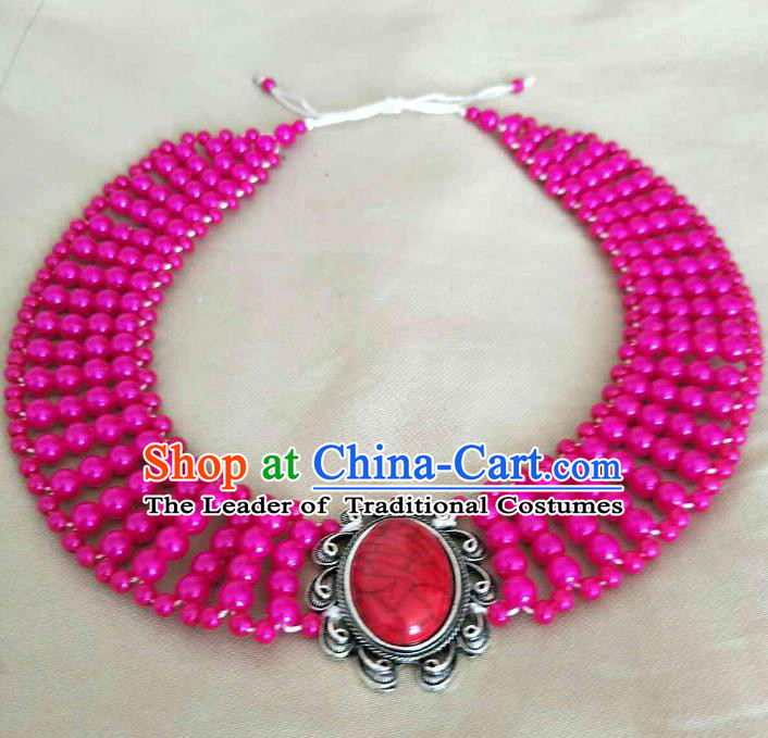 Chinese Traditional Ethnic Rosy Beads Hair Accessories, Mongolian Minority Folk Dance Headwear for Women