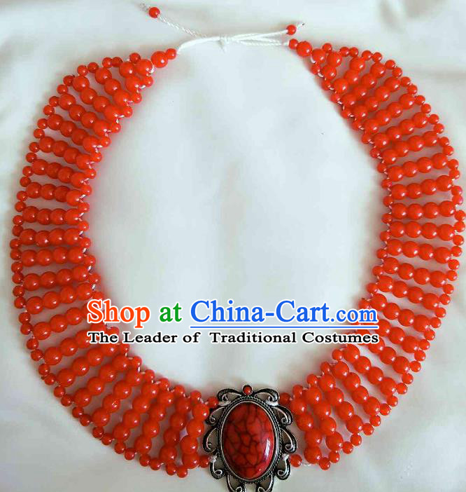 Chinese Traditional Ethnic Red Beads Hair Accessories, Mongolian Minority Folk Dance Headwear for Women