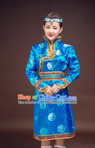 Chinese Traditional Female Ethnic Costume, China Mongolian Minority Folk Dance Blue Clothing for Women