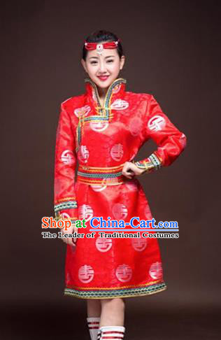 Chinese Traditional Female Ethnic Costume, China Mongolian Minority Folk Dance Red Clothing for Women