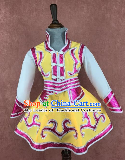 Chinese Traditional Ethnic Children Costume, China Mongolian Minority Folk Dance Clothing for Kids