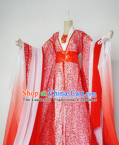 Chinese Han Dynasty Empress Red Hanfu Dress Ancient Fairy Traditional Clothing for Women