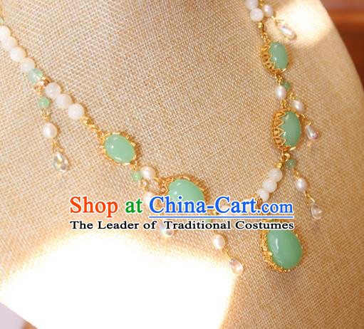 Chinese Ancient Handmade Jade Necklace Accessories Hanfu Necklet for Women