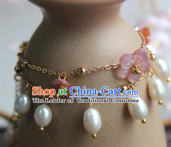 Chinese Ancient Handmade Classical Brace Lace Accessories Hanfu Pearls Bracelets for Women