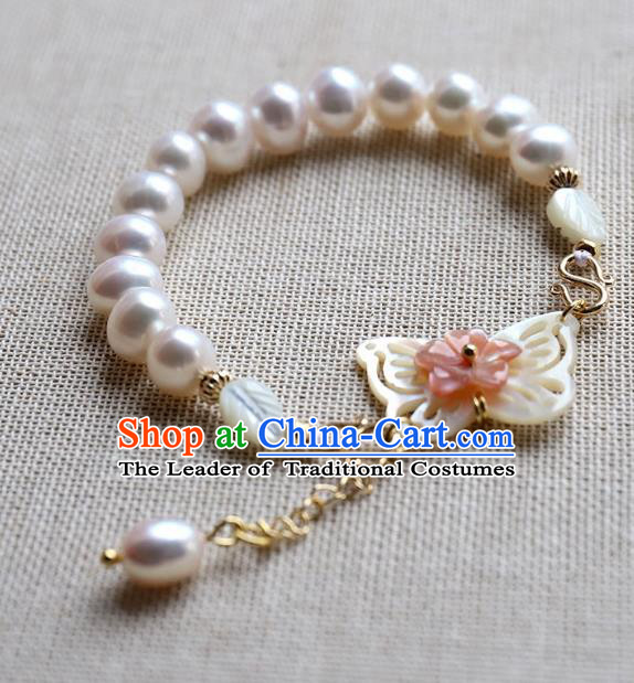 Chinese Ancient Handmade Classical Shell Butterfly Brace Lace Accessories Hanfu Pearls Bracelets for Women