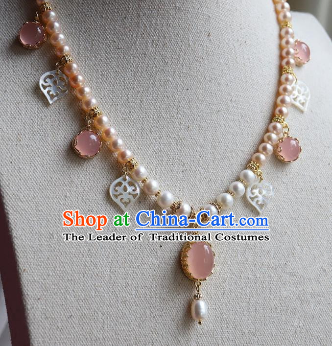 Chinese Ancient Handmade Classical Necklace Accessories Hanfu Rose Chalcedony Necklet for Women