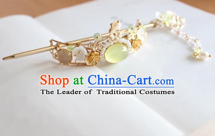 Chinese Ancient Handmade Brass Hairdo Crown Hair Accessories Hanfu Hairpins for Women