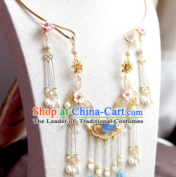 Chinese Ancient Handmade Hanfu Accessories Pearls Tassel Necklace Conophytum Pucillum for Women