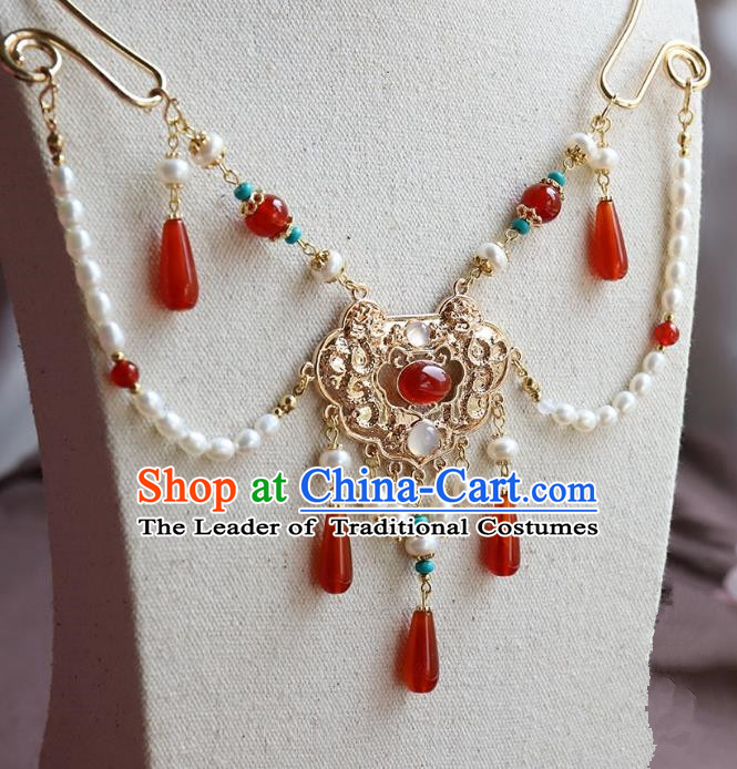 Chinese Ancient Handmade Hanfu Accessories Conophytum Pucillum Tassel Necklace for Women