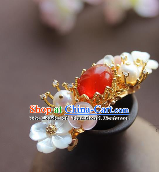 Chinese Ancient Handmade Classical Red Agate Hair Claw Hair Accessories Hanfu Hairpins for Women