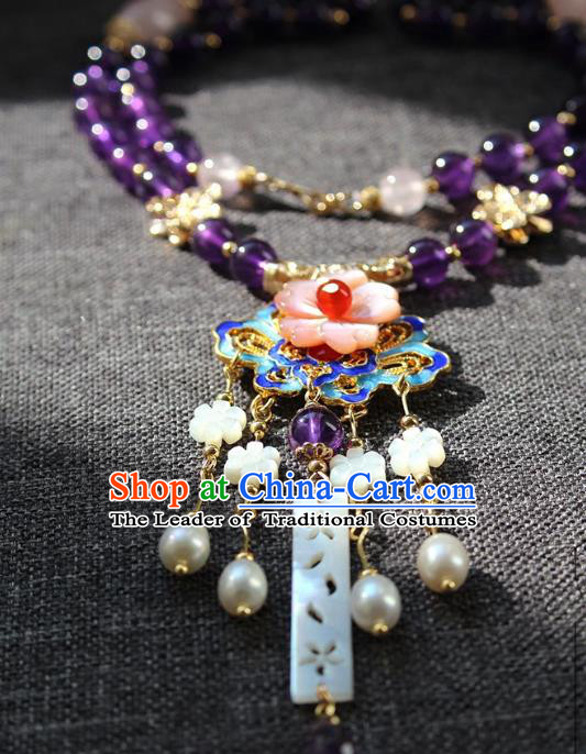 Chinese Ancient Handmade Classical Blueing Necklace Accessories Hanfu Conophytum Pucillum for Women