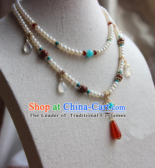 Chinese Ancient Handmade Classical Pearls Conophytum Pucillum Accessories Hanfu Necklace for Women