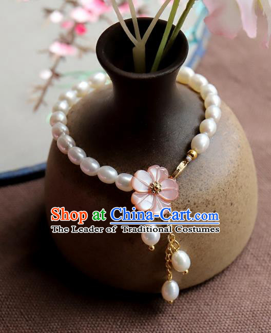 Chinese Ancient Handmade Classical Pearls Bracelets Accessories Hanfu Bangle for Women