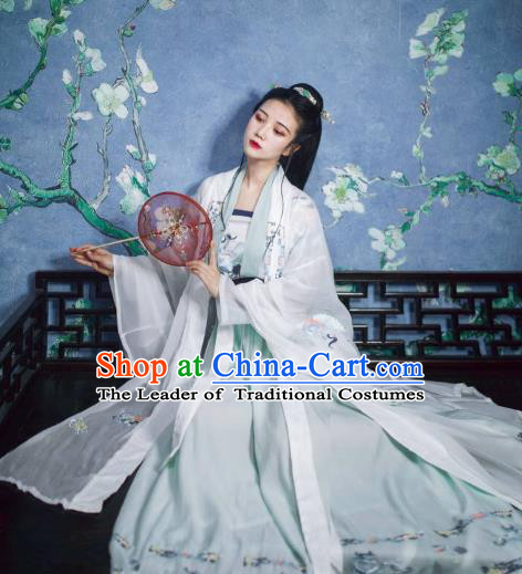 Chinese Ancient Fairy Palace Lady Costume Traditional Jin Dynasty Princess Embroidered Hanfu Dress for Women