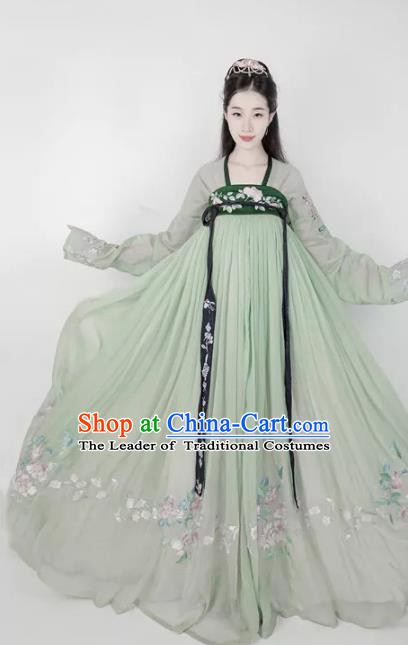 Chinese Ancient Fairy Costume Traditional Tang Dynasty Princess Embroidered Green Hanfu Dress for Women
