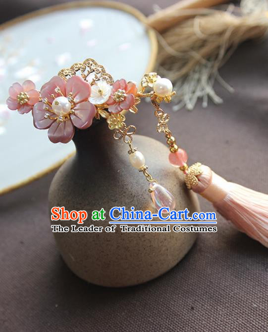 Chinese Ancient Handmade Pink Tassel Hair Stick Classical Hair Accessories Hanfu Hairpins for Women