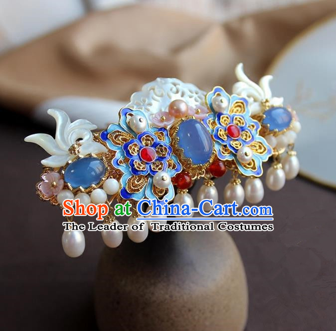 Chinese Ancient Handmade Pearls Tassel Hair Coronet Classical Hair Accessories Hanfu Blueing Hairpins for Women