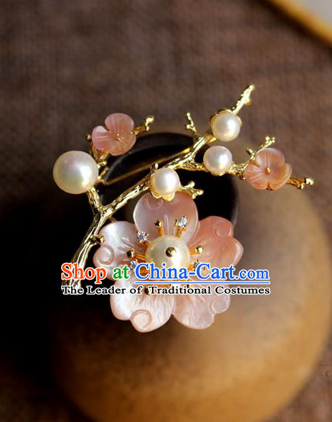 Chinese Ancient Handmade Classical Butterfly Pearls Earrings Accessories Hanfu Eardrop for Women