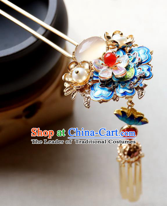 Chinese Ancient Handmade Bride Hair Clip Classical Hair Accessories Hanfu Blueing Flowers Hairpins for Women
