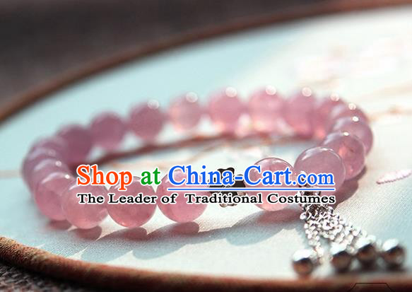 Chinese Ancient Handmade Classical Accessories Hanfu Rose Crystal Bracelets for Women