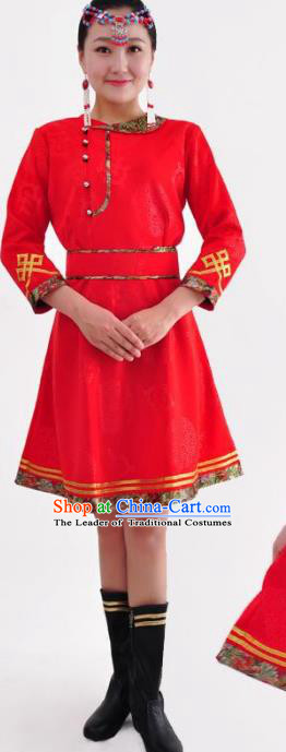 Chinese Mongol Nationality Costume Red Mongolian Robe Traditional Mongolian Minority Dress for Women