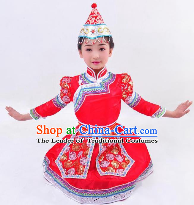 Chinese Mongol Nationality Costume Red Mongolian Robe Traditional Mongolian Minority Dress for Kids