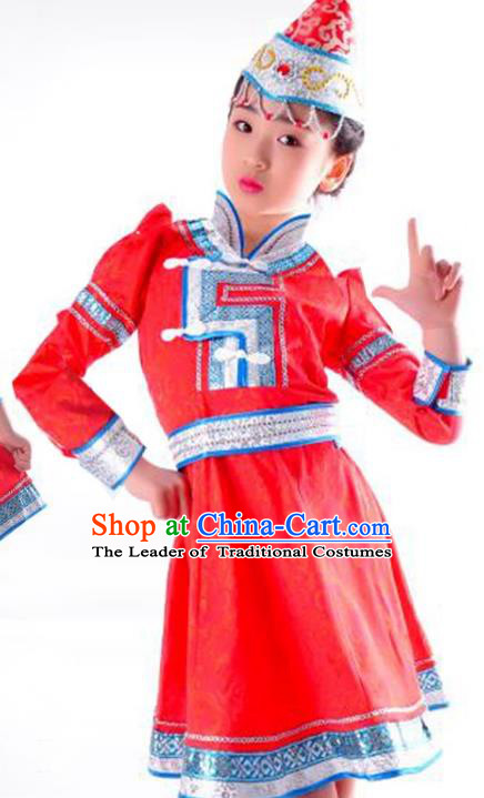 Chinese Mongol Nationality Costume Traditional Mongolian Minority Red Dress for Kids