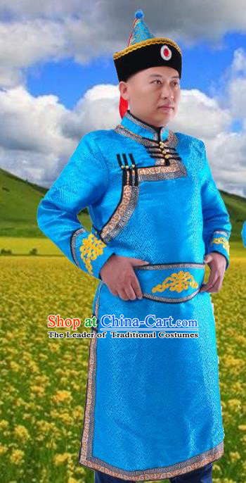 Chinese Mongol Nationality Costume Blue Mongolian Robe Traditional Mongolian Minority Folk Dance Clothing for Men