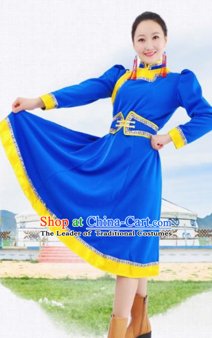 Chinese Mongol Nationality Blue Costume Traditional Mongolian Minority Dress for Women