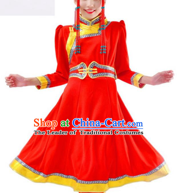 Chinese Mongol Nationality Red Costume Traditional Mongolian Minority Dress for Women