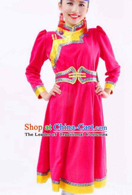 Chinese Mongol Nationality Rosy Costume Traditional Mongolian Minority Dress for Women