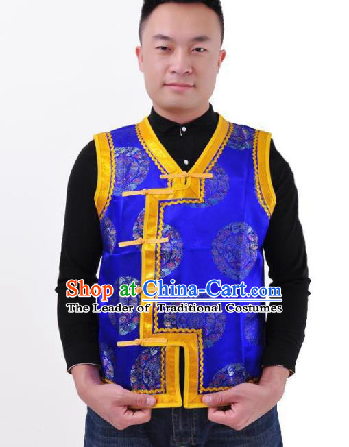 Chinese Mongol Nationality Costume Mongolian Blue Vest Traditional Mongolian Minority Folk Dance Clothing for Men