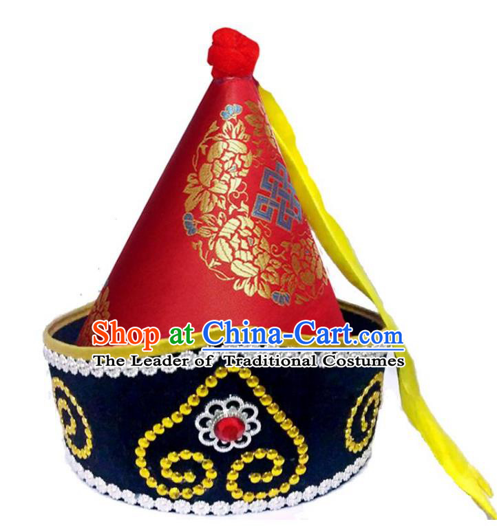 Chinese Handmade Mongol Nationality Wedding Hats Hair Accessories Mongolian Red Hats for Men