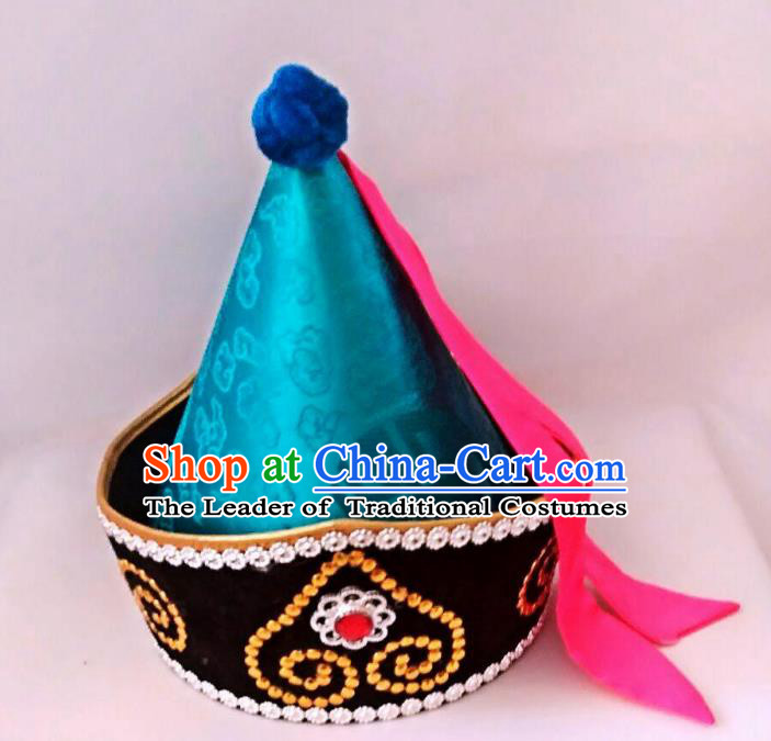 Chinese Handmade Mongol Nationality Wedding Hats Hair Accessories Mongolian Blue Hats for Men