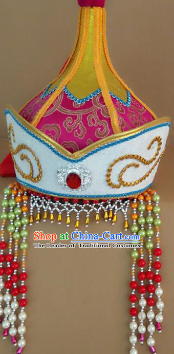 Chinese Handmade Mongol Nationality Wedding Hats Hair Accessories Mongolian Princess Pink Hats for Women