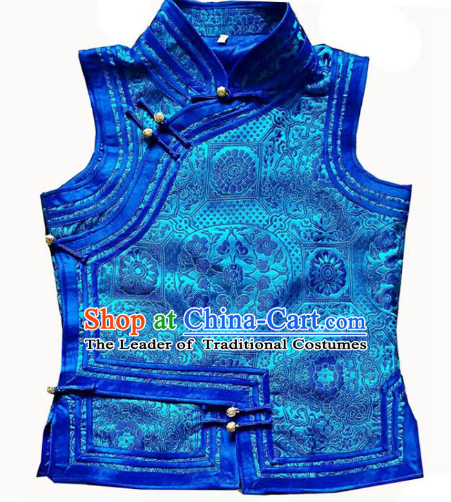 Chinese Mongol Nationality Blue Vest Costume Traditional Mongolian Minority Dress for Women