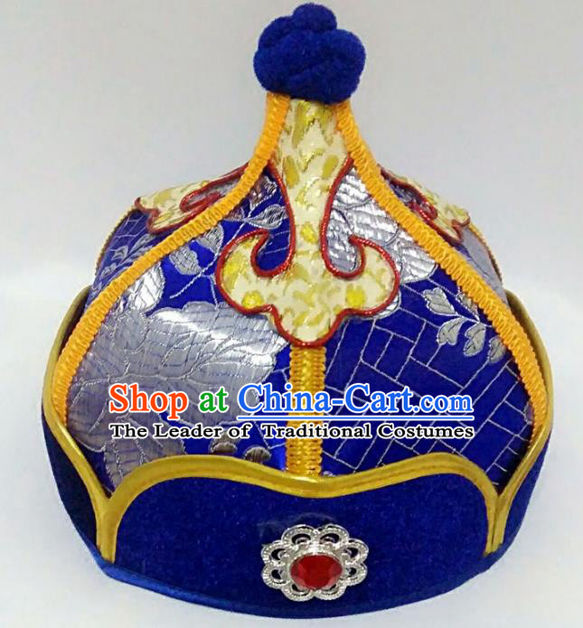 Chinese Handmade Mongol Nationality Wedding Hats Mongolian Prince Royalblue Hats for Men