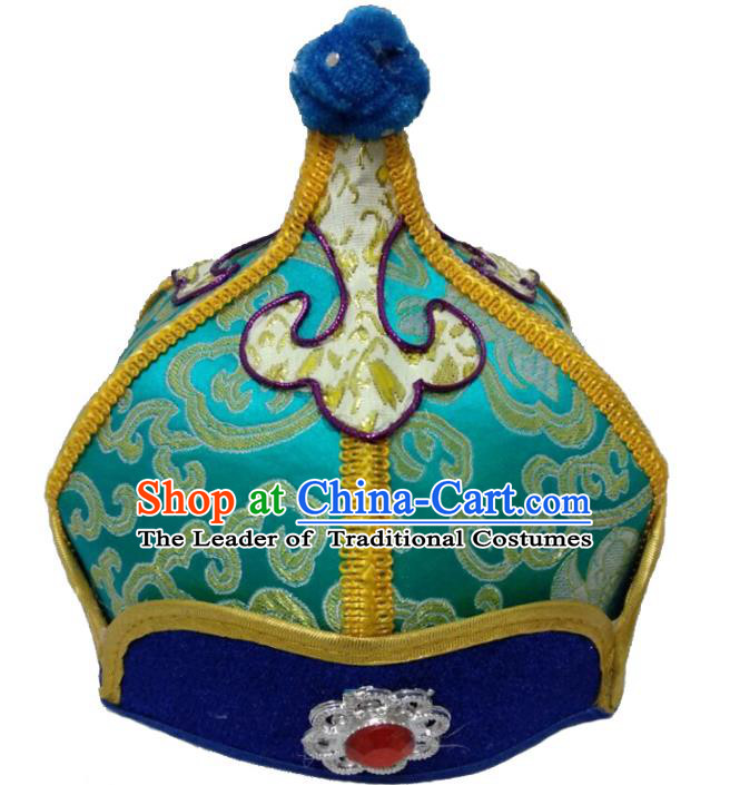Chinese Handmade Mongol Nationality Wedding Hats Mongolian Prince Green Hats for Men