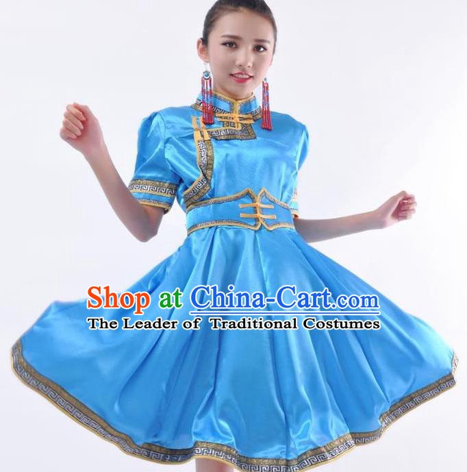 Chinese Mongol Nationality Costume Blue Dress Traditional Mongolian Minority Clothing for Women