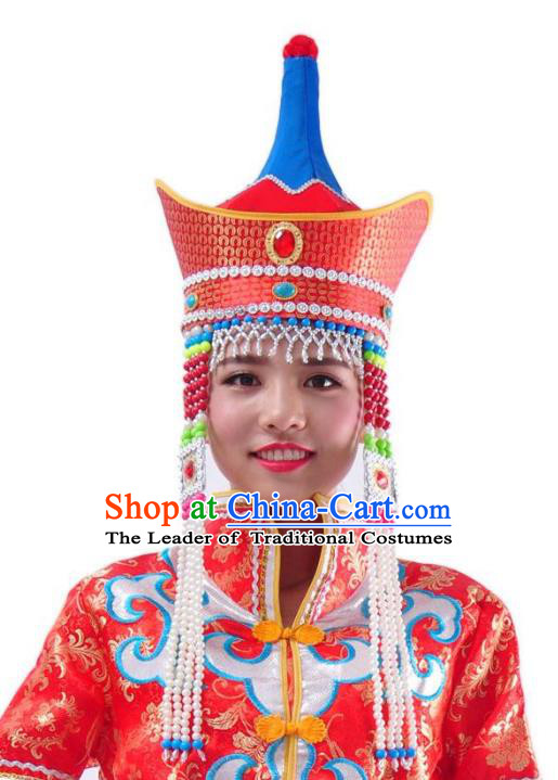 Chinese Handmade Mongol Nationality Wedding Red Hats Mongolian Bride Hats for Women