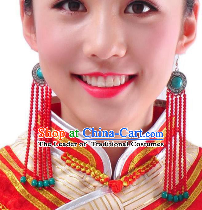 Chinese Handmade Mongol Nationality Accessories Mongolian Red Beads Tassel Earrings for Women
