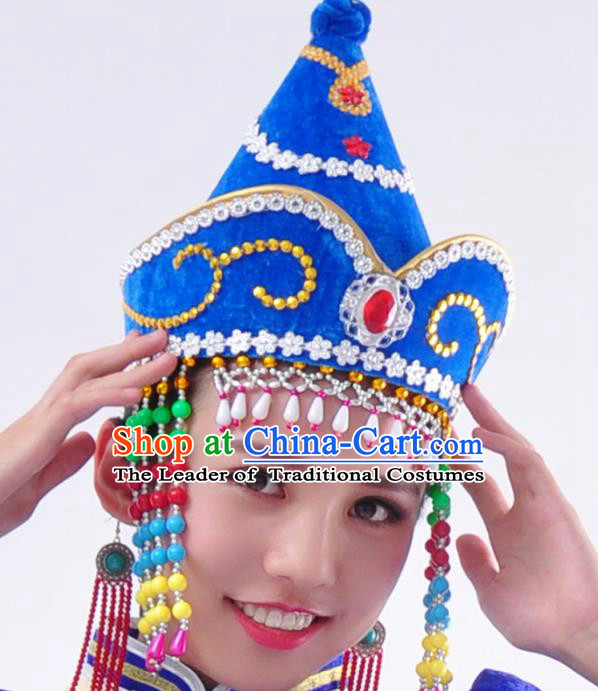 Chinese Handmade Mongol Nationality Wedding Blue Hats Mongolian Bride Hats for Women
