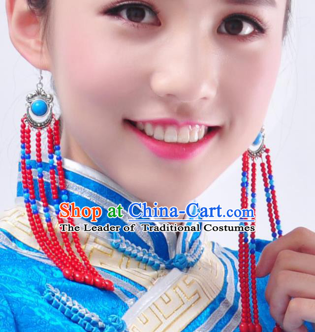 Chinese Handmade Mongol Nationality Accessories Mongolian Long Tassel Earrings for Women
