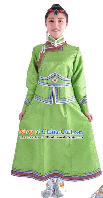 Chinese Mongol Nationality Costume Wedding Green Dress Traditional Mongolian Minority Clothing for Women