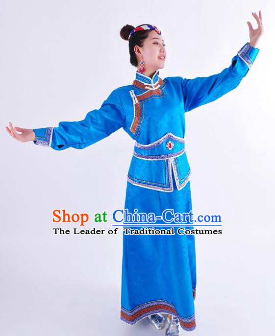 Chinese Mongol Nationality Costume Wedding Blue Dress Traditional Mongolian Minority Clothing for Women