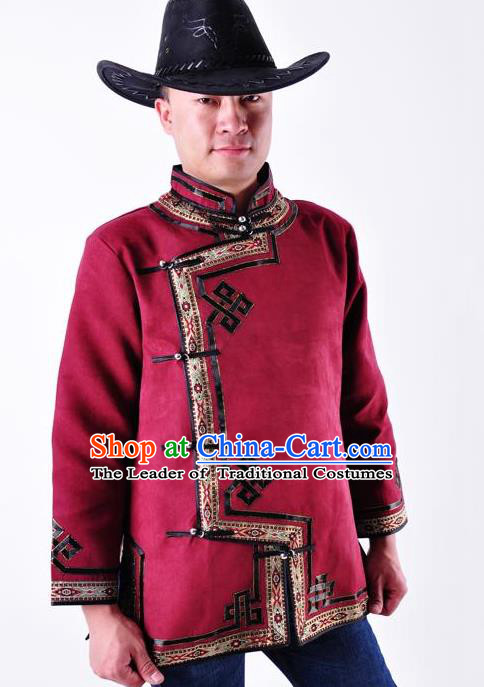 Chinese Mongol Nationality Costume Traditional Mongolian Minority Folk Dance Purplish Red Coat for Men
