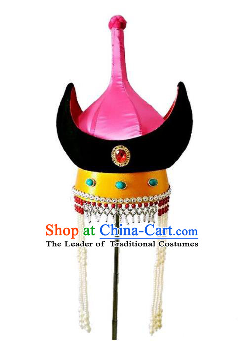 Chinese Handmade Mongol Nationality Wedding Hats Mongolian Pink Hats for Women