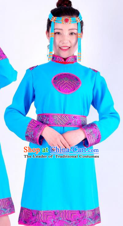 Chinese Mongol Nationality Costume Traditional Mongolian Minority Sky Blue Dress for Women